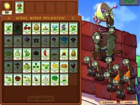 Pflanzen gegen Zombies - Pflanzenauswahl