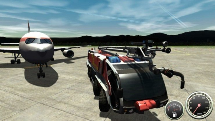 Flughafen-Feuerwehr-Simulator, Bild: rondomedia