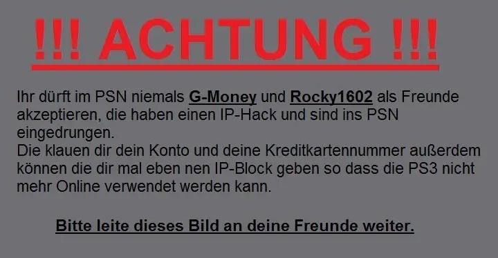 PSN-Hack Kettenbrief