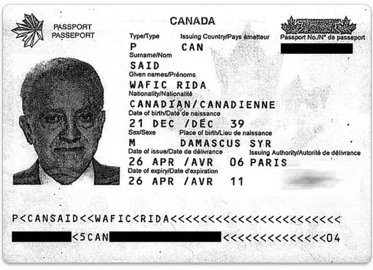 Passeport canadien de Wafic Saïd