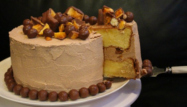 Vanilla & Chocolate Malt Cake With Maltesers & Honeycomb