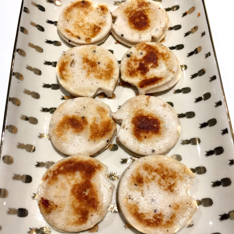 Rondelles de boudin blanc toastées