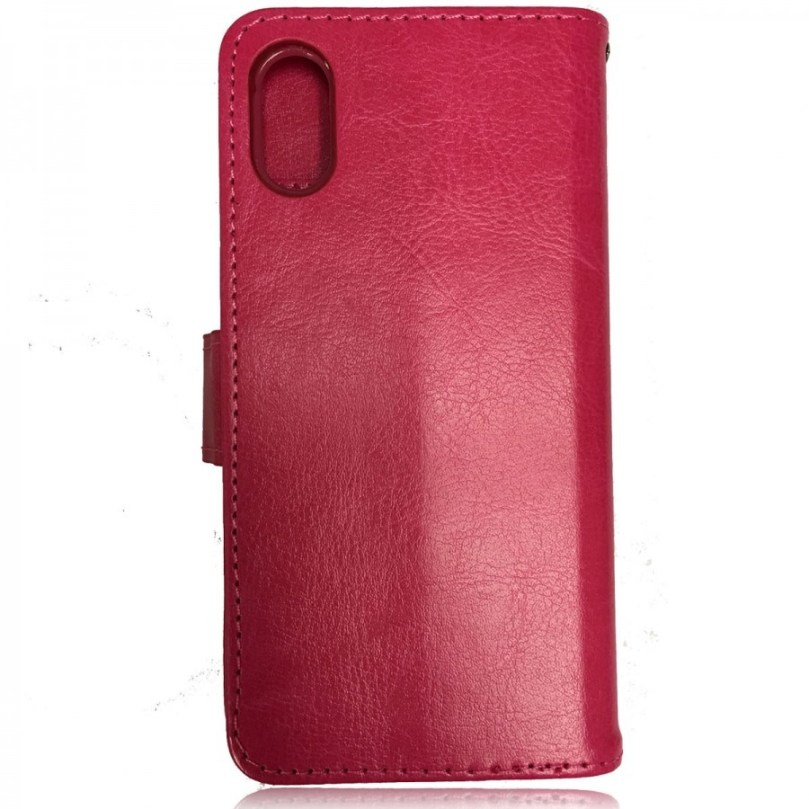 iPhone X/XS Leather Wallet Flip Case Pink 3