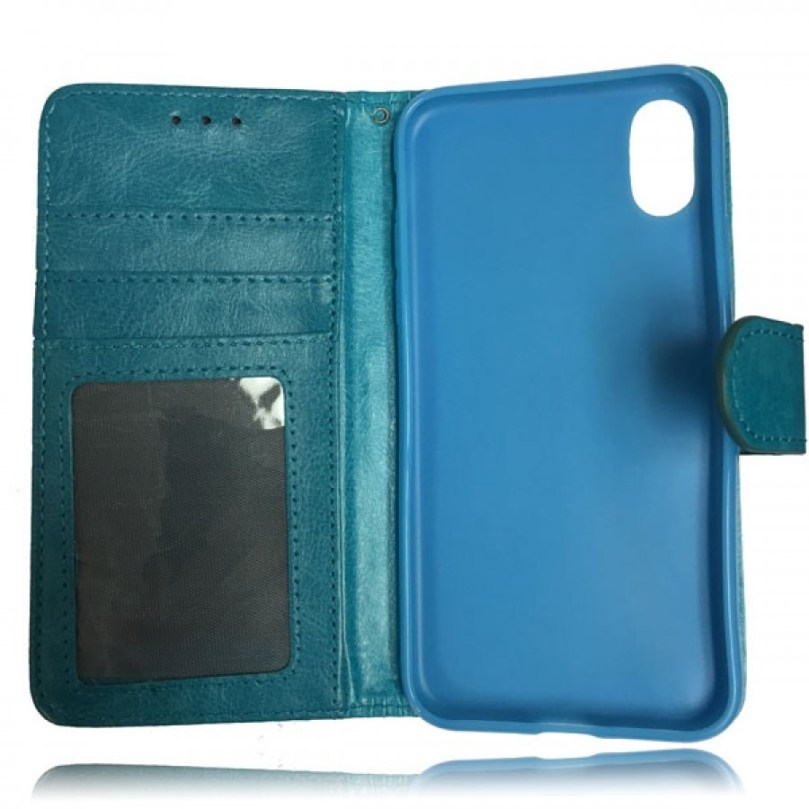 iPhone X/XS Leather Wallet Flip Case Teal 2