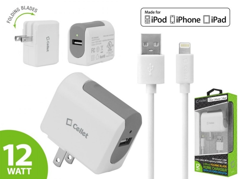 Picture of Cellet 4 ft 2.4 Amp Folding Blade Lightning Home Charger + Lightning Sync Cable (White)