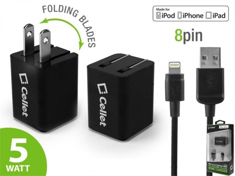 Picture of Cellet 4 ft Lightning Cable + Home Charger (Black)
