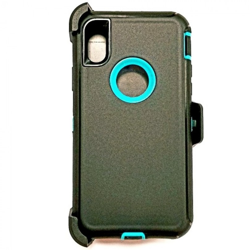 iPhone X/Xs Heavy Duty Case w/ Clip BLACK/TEAL 1
