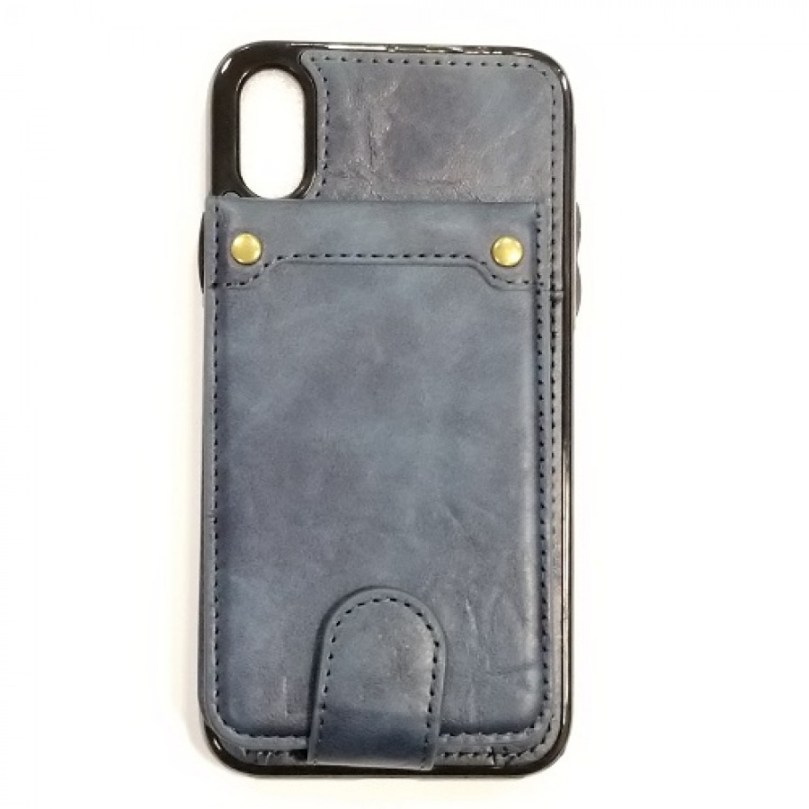 iPhone X/Xs PU Leather Wallet Multi Card Holding Case NAVY BLUE 1