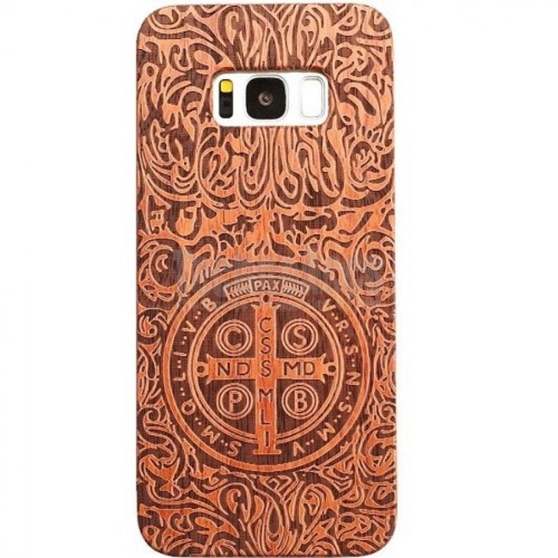 Cross Design Wood Case For Samsung S9 1