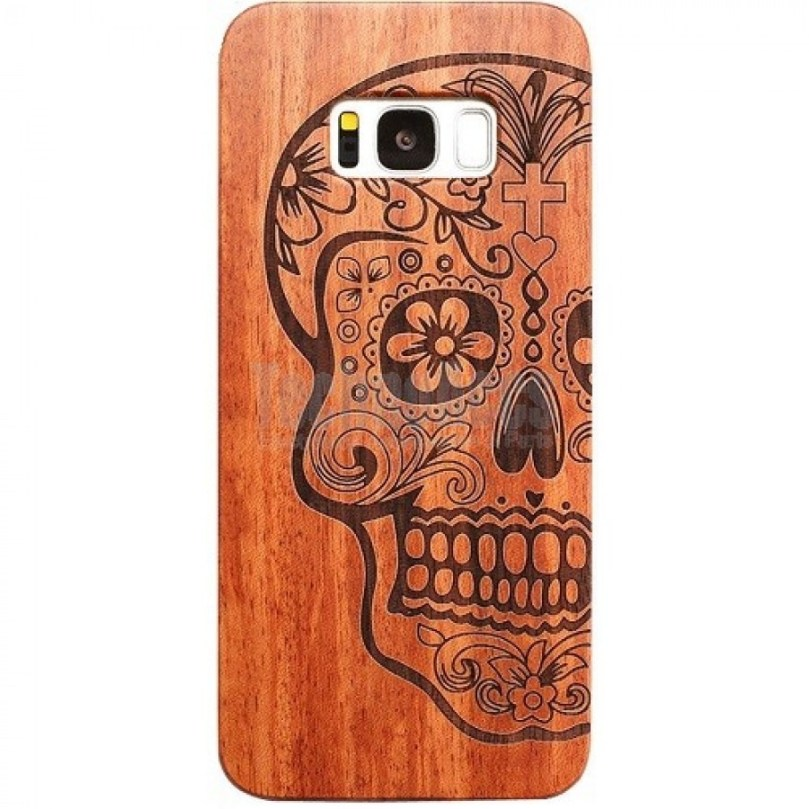 Day Of The Dead Sugar Skull Design Wood Case For Samsung S9 1
