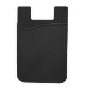 Stick-On Adhesive Silicone Cell Phone Card Holder Black 1