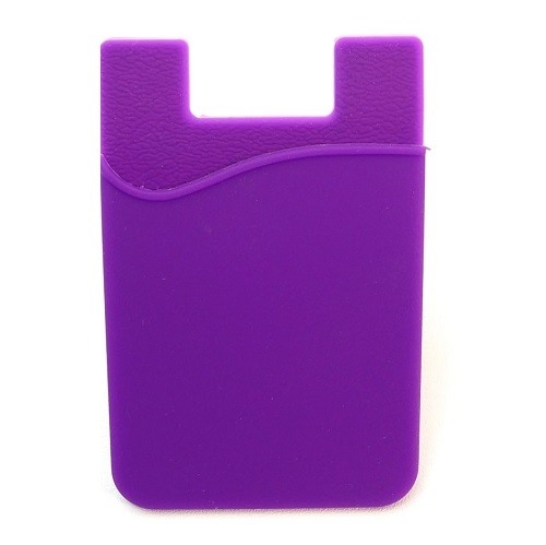 Stick-On Adhesive Silicone Cell Phone Card Holder PURPLE 1