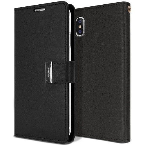 iPhone X/Xs Rich Diary Leather Wallet Case BLACK 1