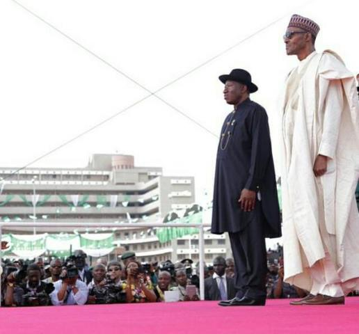 The old and the new. Ex - President Goodluck Jonathan and Muhammadu Buhari