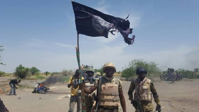 Victorious Nigerian soldiers in Chukungudu, Borno State