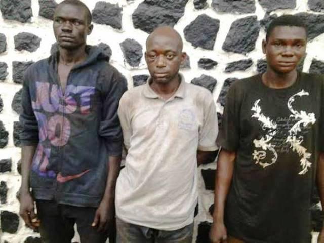 The suspects: Ojonimi Negedu, Awodi Ezekiel and Micheal Sule