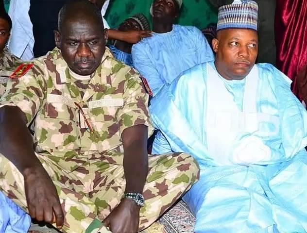 Tukur Buratai and Governor Shettima at the Eid prayer ground in Maiduguri