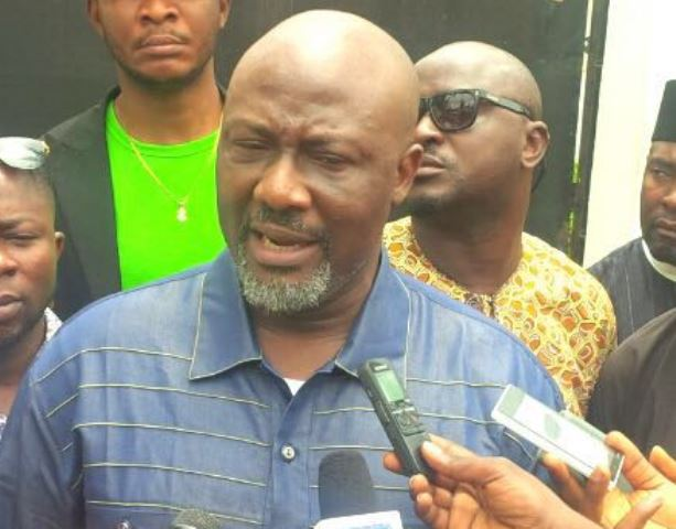 Dino Melaye talking to the media shortly after submitting the report