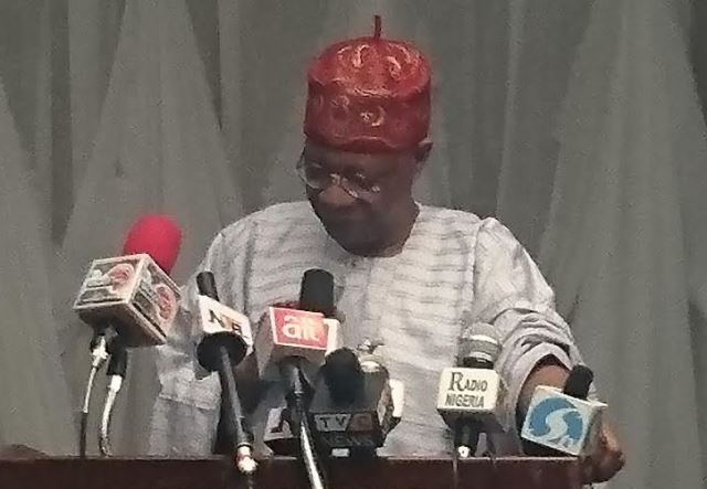 Information and Culture Minister, Lai Mohammed addressing the Nigerian Guild of Editors