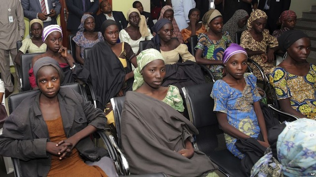 file: Some of the first batch 21 Chibok girls released in 2016