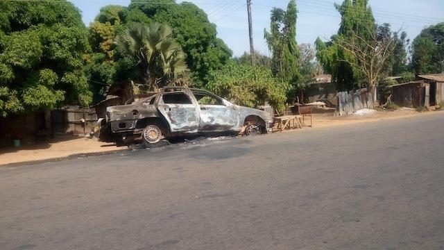 Burnt vehicle in Samaru Kataf, Zango Kataf LGA
