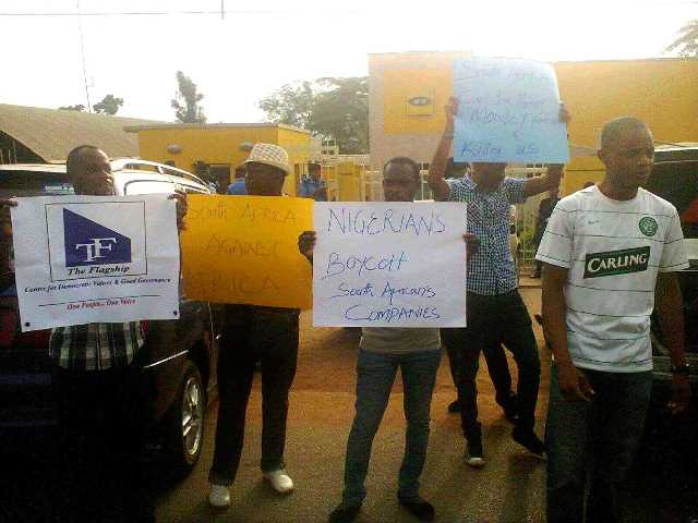 Xenophobic attacks - Protesters storm mtn office in abuja