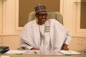President Buhari in his office on Monday