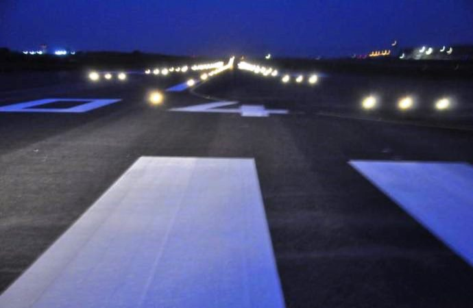 Night view of the newly reconstructed Abuja airport runway