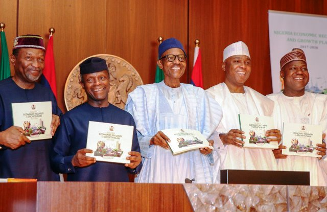 From left to right: Minister of Budget and National Planning, Udoma Udo-Udoma; Vice President Yemi Osinbajo; President Muhammadu Buhari; Senate President Bukola Saraki, and Speaker of the House of Representatives, Yakubu Dogara, during the launch of the Economic Recovery and Growth Plan 2017 at the Aso Rock Presidential Villa, Abuja, on Wednesday
