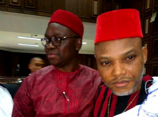 Governor Ayodele Fayose poses with Nnamdi Kanu in court on Tuesday