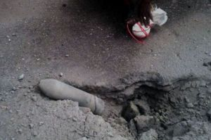 One of the IEDs buried by suspected Boko Haram terrorists