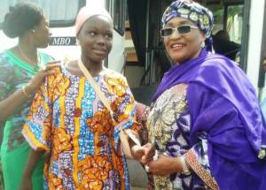 Minister of Women Affairs, Aisha Al-Hassan with one of the newly released Chibok Girls