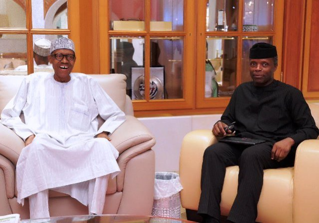 President Buhari and Vice President Osinbajo at the State House shortly before the President left for London