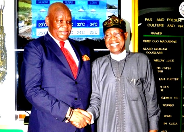 Minister of Information & Culture, Alhaji Lai Mohammed (right), and the South African High Commissioner to Nigeria, His Excellency Lulu Louis Mnguni, during a courtesy visit to the Minister in Abuja. Photo Credit: Ministry of Information and Culture