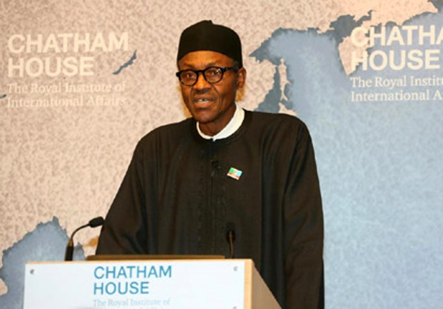 file: Then Presidential Candidate, Muhammadu Buhari delivers a speech at the Chatham House Institute in February 2015, months before the general election. Photo Credit: Vanguard Newspaper