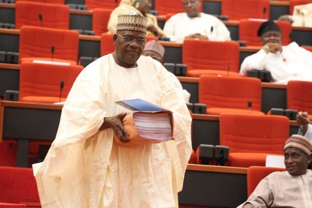 Chairman of the Senate committee on appropriation, Danjuma Goje, presenting the 2017 budget on Tuesday May 9. Photo Credit: Senate twitter handle