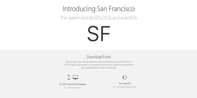 Apple Makes Its New San Francisco Font Available for