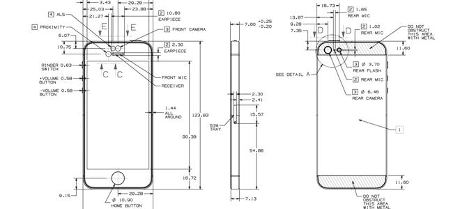Desenhos de esquemas do iPhone 5S e iPhone low-cost