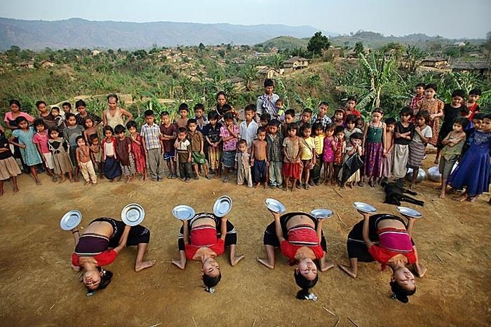 Bru tribal dance. Naisingpara refugee camp, Tripura, North East States, India