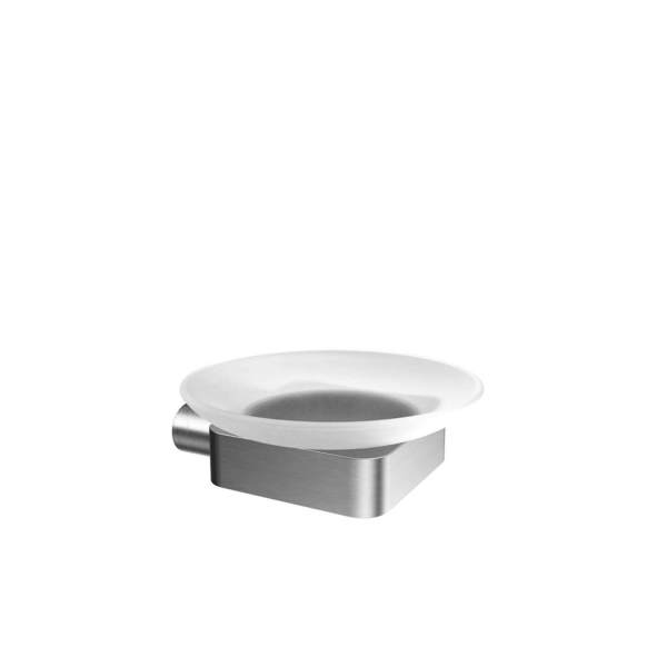 V4514 - Volkano Flow Glass Soap Dish - Brushed Nickel