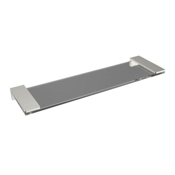 V61764 - Volkano Ash Glass Shelf - Brushed Nickel
