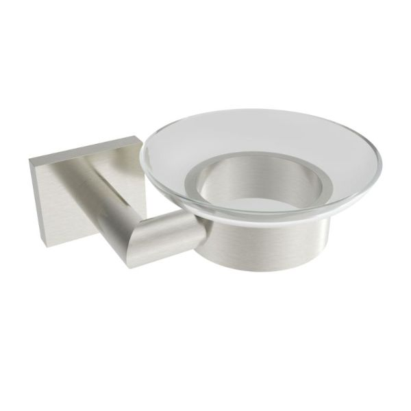 V62524 - Volkano Crater Glass Soap Dish - Brushed Nickel