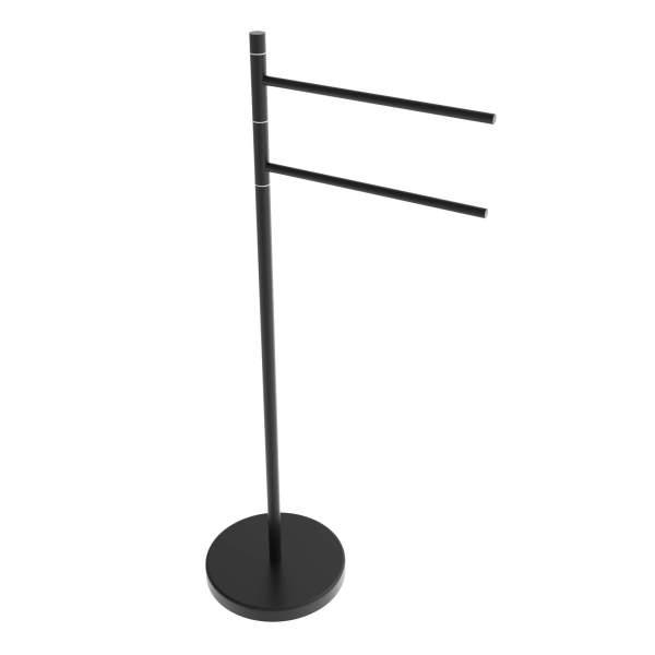 V91215 - Swivel round freestanding towel holder - matte black