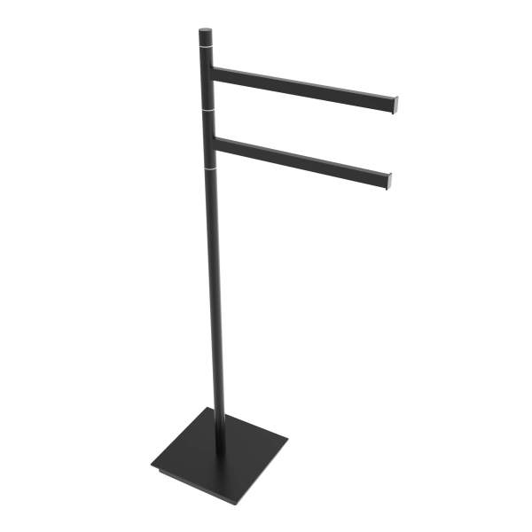 V91255 - Swivel square freestanding towel holder- matte black