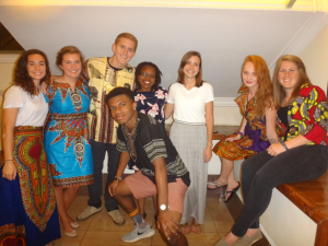 L-R, Lara, Delaney, Cameron, Takia, Natalie, Amber, Mckenzie, and front David. Part of the international HYC team serving in Kenya