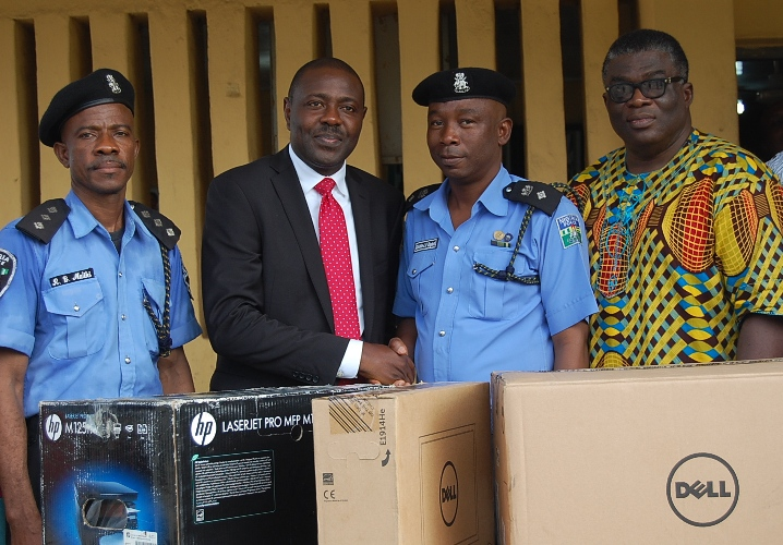 (L-R) DSP Maliki Bawa of Alausa Police Station,  Chairman ICOC Ikeja-Ketu/Mowe Men's Forum, Mr. Uwamai Igein, DPO Alausa Police Station, Gbolahan Olugbemi and the Evangelist Ikeja-Ketu/Mowe Region of International Church of Christ, Mr. Emeka Okechukwu at the donation of laptops and printer to Alausa Police Station as part of Ikeja-Ketu/Mowe Men's Forum CSR initiative in Lagos