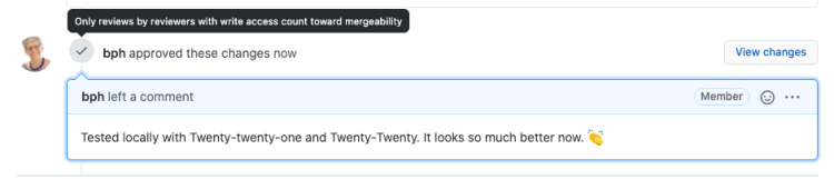 "Screenshot: PR approval with comment and note: ""only review by reviewer with write access count towards mergeability"""