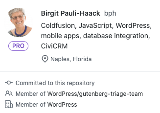 Screenshot: GitHub profile of Birgit Pauli-Haack username @bph