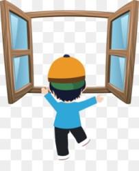 window cartoon open clip windows vector jendela gambar kartun hand boy painted classroom bus train closed similars microsoft christmas airplane