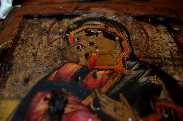 Фрагмент раскрытой Владимирской иконы